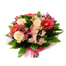 Букет орхидея, гербера, роза (№1)